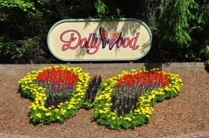 Dollywood flower sign at the main entrance