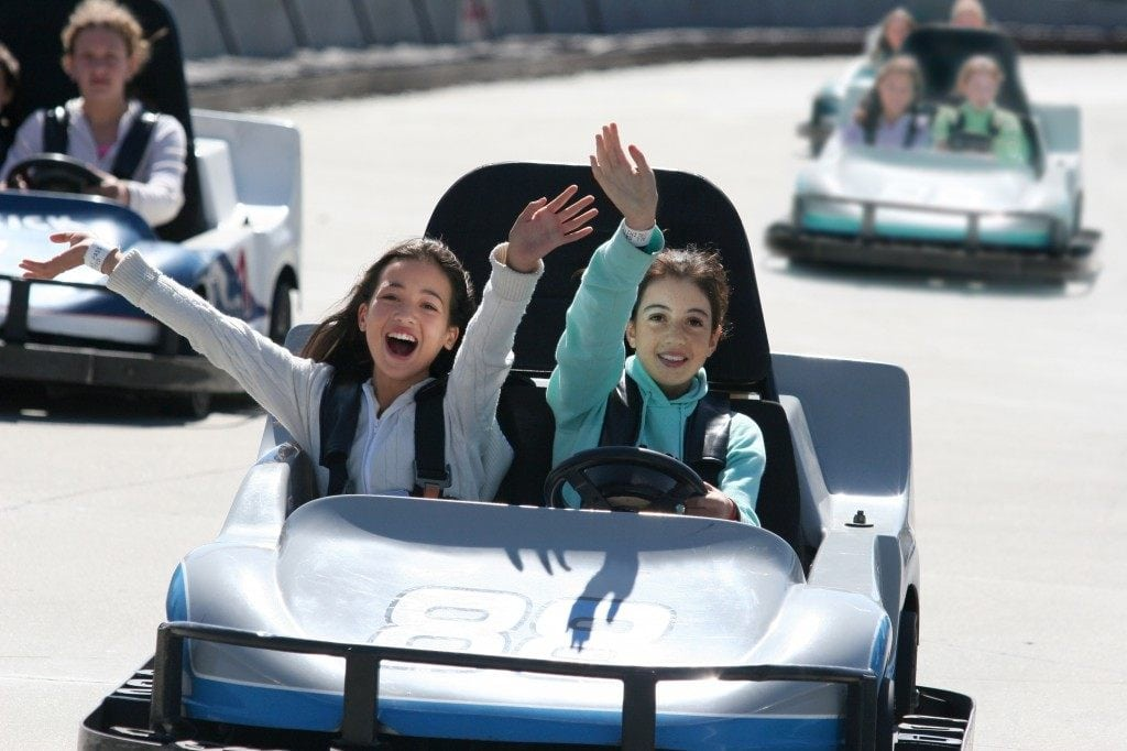 Two girls in go kart