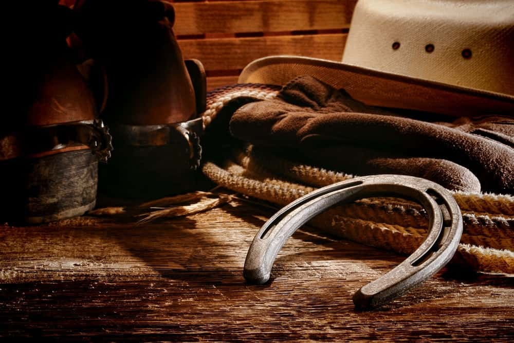 Western horse riding gear with cowboy hat, cowboy boots, horse shoe, and lasso