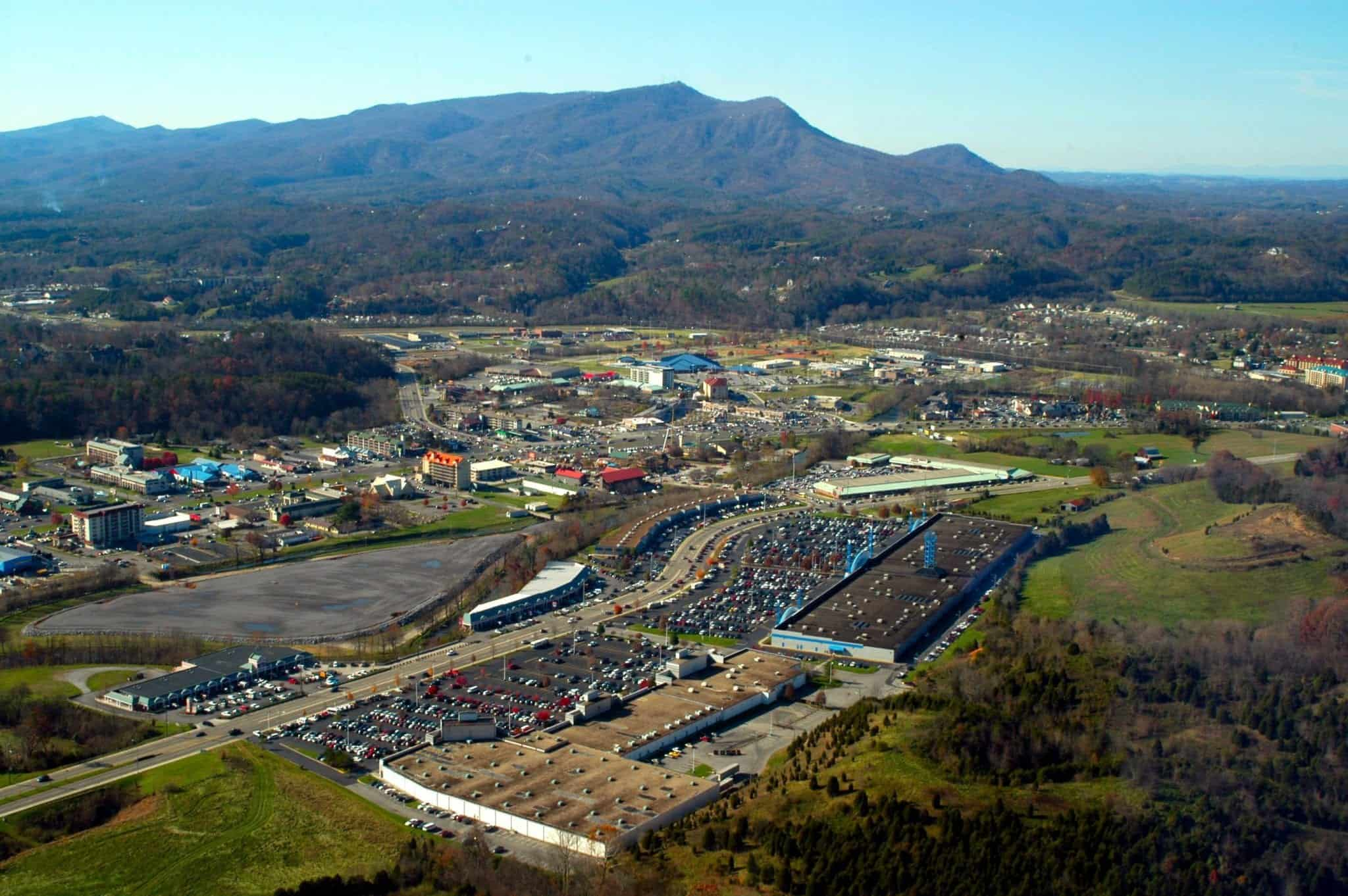 Aerial view of Pigeon Forge, Tennessee