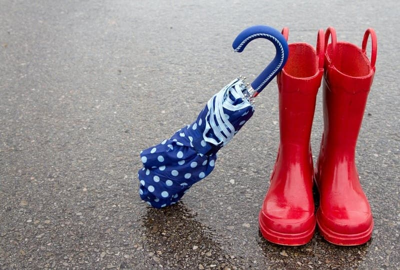 Red rain boots and an umbrella outside