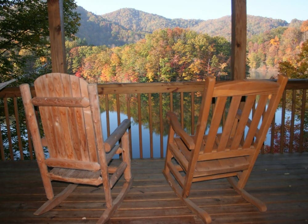 View of the Smoky Mountains from the deck of a Gatlinburg and Pigeon Forge vacation cabin