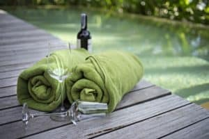 towel and wine glass in a large Pigeon Forge cabin rental with indoor pool
