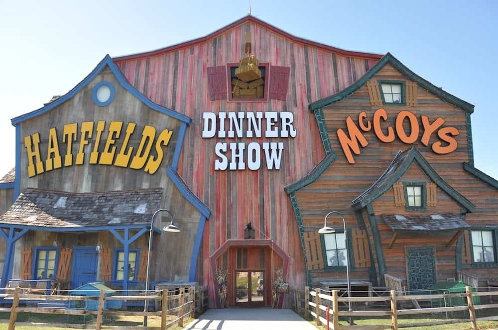 The exterior of the Hatfield and McCoy dinner show in Pigeon Forge
