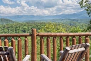 Stunning mountain views from the deck of the Great Expectations cabin in Pigeon Forge.