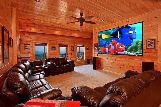 The awesome theater room in the Smokin' View Lodge cabin rental.