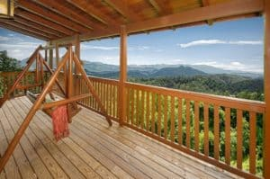 Beautiful mountain views from the deck of a cabin in Gatlinburg TN.