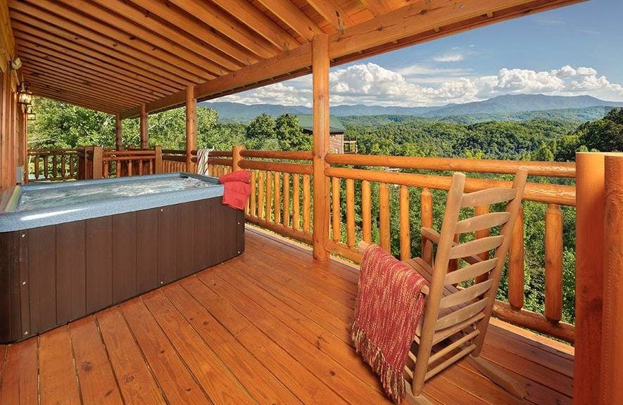 Hot tub and mountain view at Views for Daze in Pigeon Forge TN