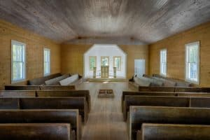 inside one of the cades cove churches