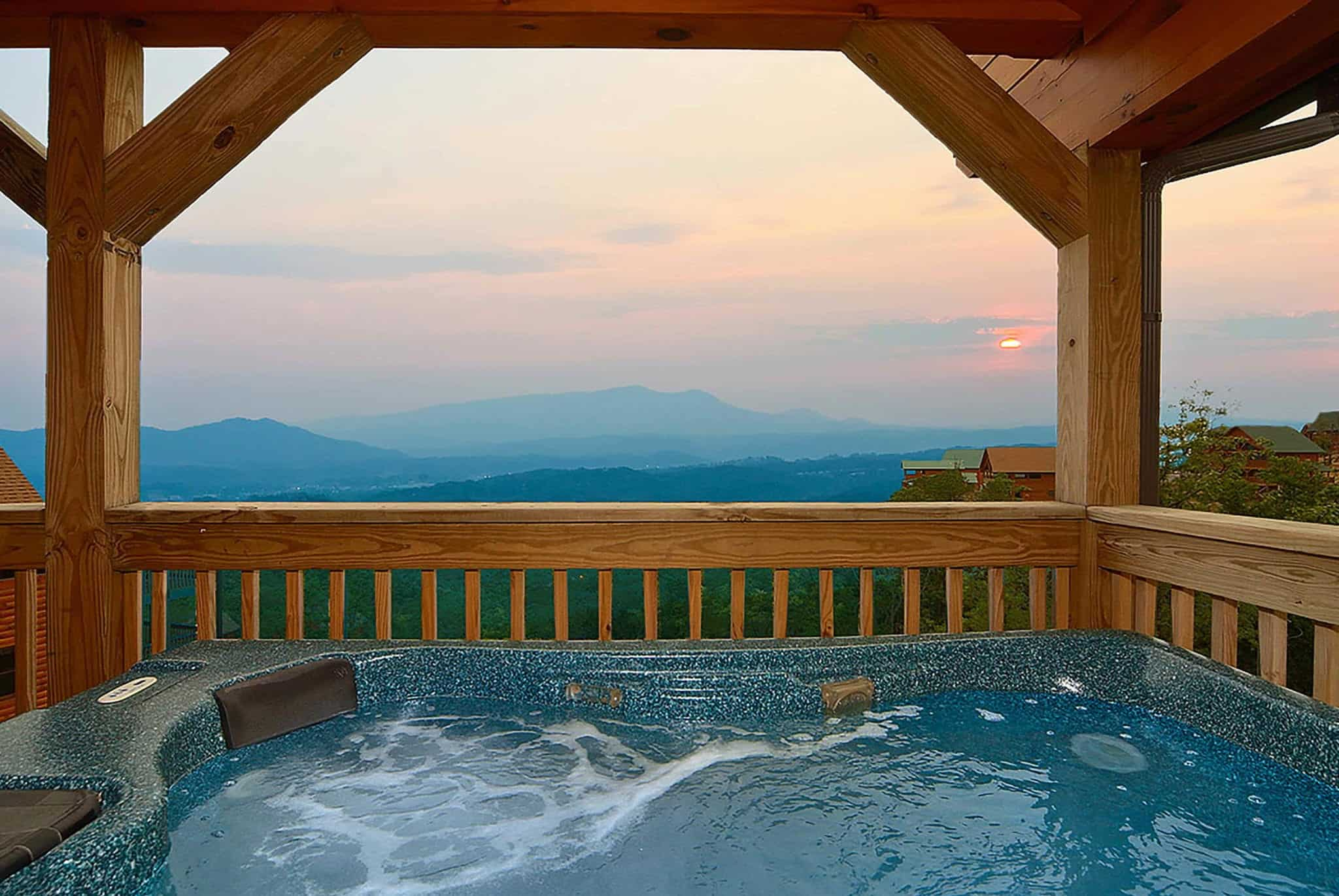 hot tub on deck of Gatlinburg cabin