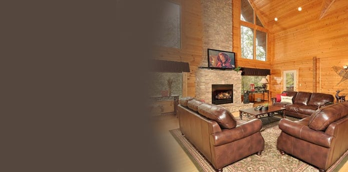living room in cabin in gatlinburg