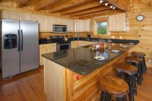 kitchen in Pigeon Forge cabin with indoor pool