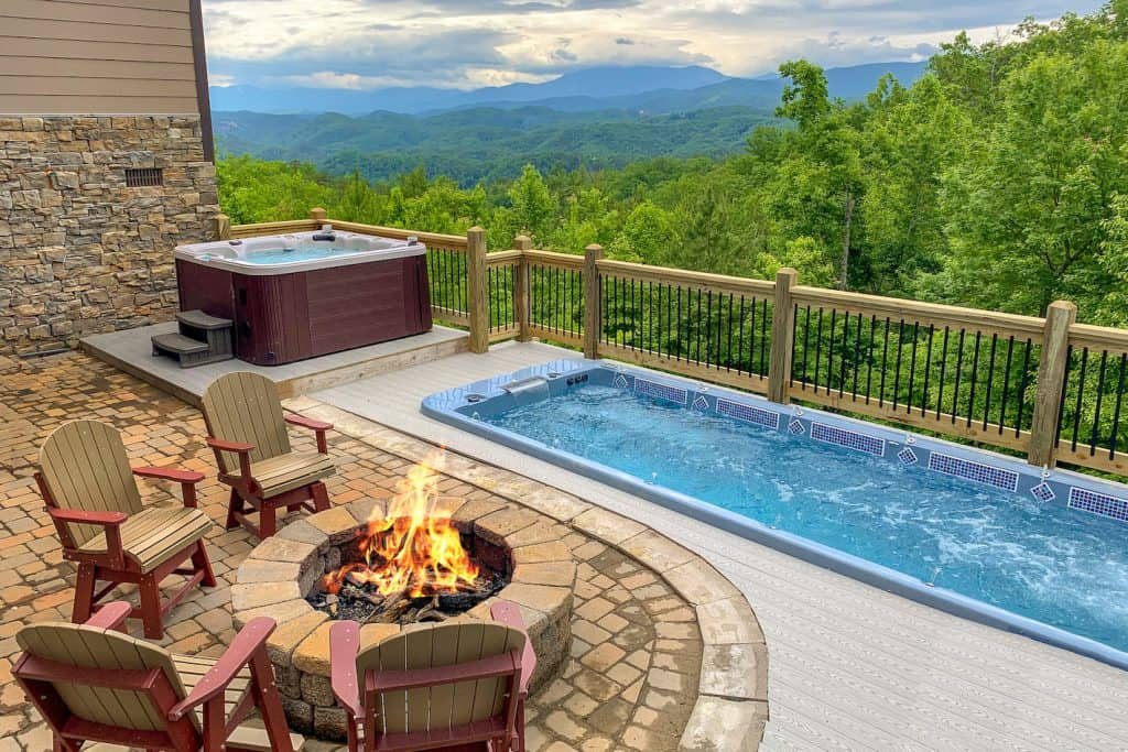 fire pit with hot tubs